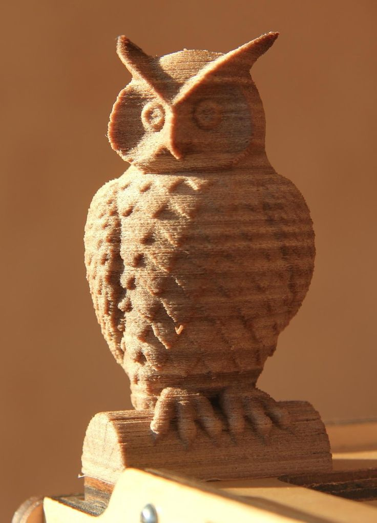 filament laywood do druku 3d - figurka sowy - drukowanie 3d