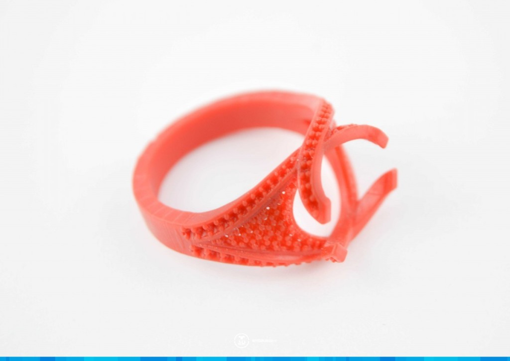 pierścionek wydrukowany w technologi DLP druk 3d