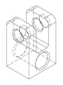 rysunek techniczny aksonometryczny linie ukryte